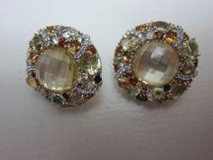 JUDITH RIPKA STERLING YELLOW MULTI GEMSTONE & DIAMONIQUE CLIP ON EARRINGS NEW in Jewelry & Watches   eBay