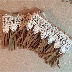 FAUX SUEDE AND LACE BOOT CUFFS Faux pearl and crystal accents. Velcro closure.  2 metal clips on inside to attach to boots. Accessories Hosiery & Socks
