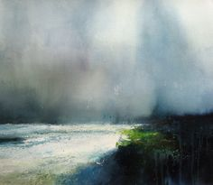 Looking at a white sea as the waves roll in ~ David Parfitt RI - Gallery #watercolor jd