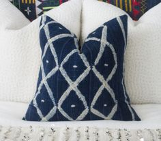 African Indigo Pillow Cover 20x20 by ThreadTooth on Etsy
