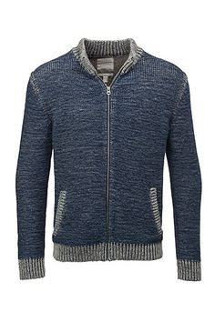 Esprit / thick cotton cardigan with zip front