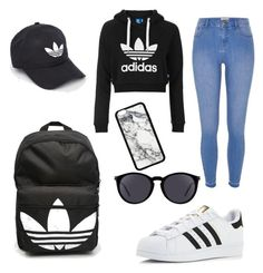 """Adidas❤️😍❤️"" by cheyenne-2707 ❤ liked on Polyvore featuring adidas Originals, River Island, adidas and Yves Saint Laurent"