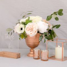 Rose gold centerpiece to hire Johannesburg
