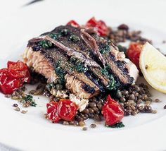 Grilled wild salmon with anchovies, capers & lentils recipe - Recipes - BBC Good Food