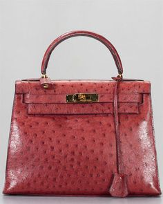 9dbd6360efb Hermes Red Ostrich Leather Kelly 28cm GHW Hermes Bags