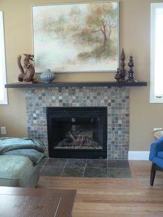 Stacked Slate Tile Fireplace | Slate Fireplaces, Slate Stone ...