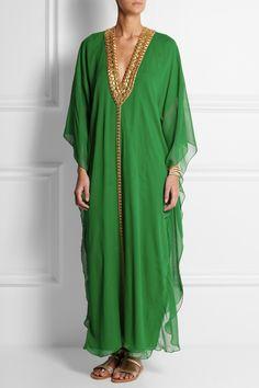 Melissa Odabash | + Julien Macdonald Hilary embellished silk-georgette kaftan | NET-A-PORTER.COM