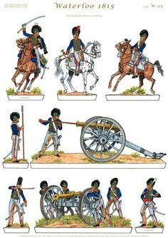 British Army Uniform, British Uniforms, Waterloo 1815, Battle Of Waterloo, Military Art, Military History, Bataille De Waterloo, Royal Horse Artillery, Vintage Paper Dolls