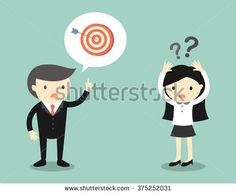 Business concept, Boss talking with business woman about target but she is confused. Vector illustration.