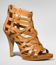 LEATHER CAGED HEELED SANDAL at Express