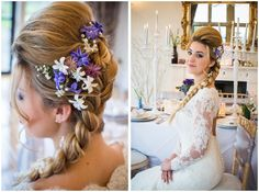 Frozen Wedding Ideas, Elsa as our Bride. Winter theme at Old Down Manor Bristol. Bridal Hair, Flowers and Plait