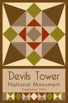 Devils Tower National Monument Quilt Block designed by Susan Davis. Susan is the owner of Olde America Antiques and American Quilt Blocks She has created unique quilt block designs to celebrate the National Park Service Centennial in 2016. These are the first quilt blocks designed specifically for America's national parks and are new to the quilting hobby.