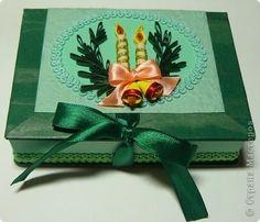 Декор предметов Квиллинг: шкатулка рождественская Бумага, Картон, Ленты, Тесьма, шнур Рождество. Фото 1
