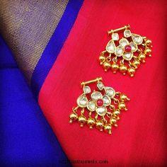 Gold uncut bali earrings from sakhi fashions