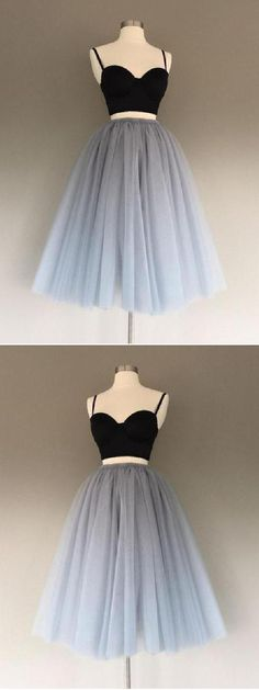 Prom Dress Two Piece, Homecoming Dresses 2018, Prom Dress Short, A-Line Homecoming Dresses #Homecoming #Dresses #2018 #Prom #Dress #Short #Two #Piece #ALine