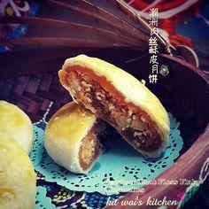 Kit Wai's kitchen : 潮洲肉丝酥皮月饼 ~ Teochew Meat / Pork Floss Lotus Paste Flaky Mooncake
