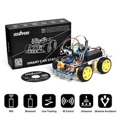 Integrated Circuits Multi-function Smart Car Kit Bluetooth Chassis Suit Tracking Compatible Uno R3 Diy Rc Electronic Toy Robot Reliable Performance Electronic Components & Supplies