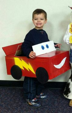 Homemade Lightning McQueen costume was a big hit. So many folks asked where we got this that I thought I'd tell how Daniel did it.