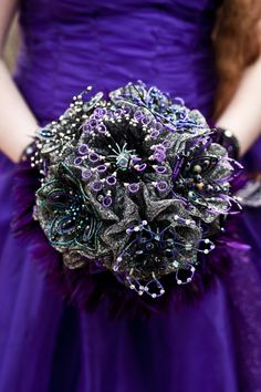 My galaxy themed wedding bouquet. French beaded flowers and purple LEDs (that aren't turned on here). Flowers by Annie Lindsay, LED design by Anthony Barker, construction by Solari Mahirimah and photo by Jenna Danelle. Galaxy Wedding, Starry Night Wedding, Purple Wedding, Dream Wedding, Wedding Bouquets, Wedding Flowers, Bouquet Flowers, Night Time Wedding, French Beaded Flowers