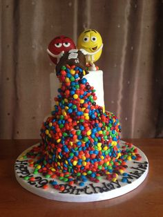M&M's Birthday Cake - M&M's on top were made out of rice krispies, and…