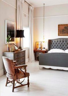 Elegant Bedroom DecorI Like The High Curtains And Chair Rail