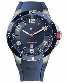 Tommy Hilfiger Watch, Men's Navy Silicone Strap 44mm 1790862  86,49