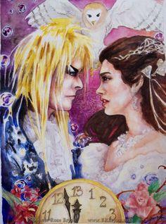 Jareth and Sarah (Labyrinth movie fan art) // mixed media art by Bonnie Rose Bryan