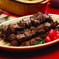 Garlic Beef Kabobs.  The marinade in this recipe sounds delicious! Dijon mustard, red wine vinegar, soy sauce, garlic, honey, rosemary, smoked paprika, cayenne pepper and black pepper.