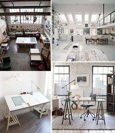 Mostly in love with bottom right space. White brick, subtle window frame contrast, washed out wood floors. - Kim