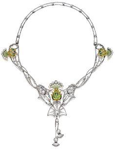 Art Nouveau plique-à-jour enamel, peridot, and diamond necklace, circa 1900. Via Diamonds in the Library.