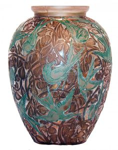 "R. LALIQUE __Martin Pecheurs"" Vase, 1923, the birds and stylized foliage molded on a classic Lalique shaped vessel with brown painted foliage and blueish-green tuquoise birds on frosted colorless glass, 1923, molded signature R. Lalique. Marcilhac Reference No. 920 Height 9 7/8 in. (25 cm) R5461"