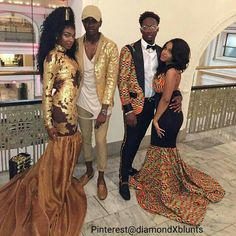 Prom in African pride African Attire, African Wear, African Dress, African Fashion, Prom Outfits, Couple Outfits, African Prom Dresses, Prom Couples, Style Africain