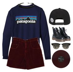 """""""New Americana // Halsey"""" by luciamenesess ❤ liked on Polyvore featuring Patagonia and Ray-Ban"""