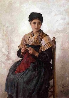 """A Girl Knitting,"" 1873 -- by Jules Breton (French, 1827–1906)"