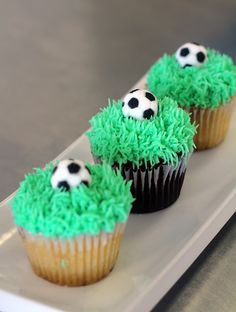 Edible soccer ball and grass cupcakes. Made by CupCasions Kelowna.