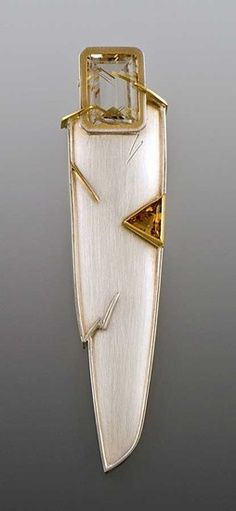 "Elenor Moty - ""Focal Point"" Brooch. 22K & 18K Gold & Sterling Silver with Citrine & Rutilated-Quartz. Tucson, Arizona. Circa Early 20th Century."