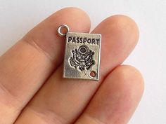 10 Passport Charms  Passport Charm Connectors  by StashofCharms