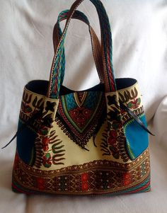 Dashiki handbag. Cream handbag/ purse. Women's fashion. Consider if you like Vera Bradley patterns. African fashion. Make a statement with this bag. Additional colors available. Contact me to order. Delivery available.