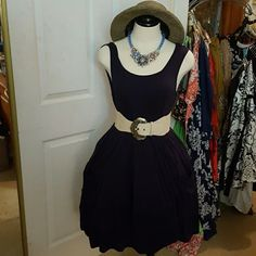 CALVIN KLEIN NAVY BLUE SUMMER DRESS With pockets this dress has a seamed waist and folds in the bodice. Simply slips over the head. In soft rayon/spandex. Hat, belt and necklace are not included. Calvin Klein  Dresses Mini