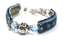 Blue Jean Bracelet with Swarovski Crystals on Etsy