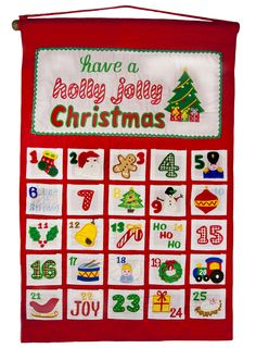 """This festively appointed cloth pocket advent calendar by My Growing Season is sure to be a family favorite.  Fill each pocket with treats, goodies or notes and count down until Jolly Old Saint Nick arrives!  Dimensions: 15"""" wide x 22"""" high"""