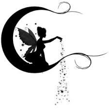 Silhouette Fairy With Fairy Dust On Half Moon Tattoo Stencil Fairy Silhouette, Silhouette Portrait, Silhouette Images, Silhouettes, Fairy Lanterns, Fairy Tattoo Designs, Fairy Jars, Kirigami, Silhouette Projects