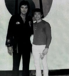 PHOTOSHOPPED !!!  As far as I know, Bruce Lee never got the chance to meet up with Elvis and this is a FAKE picture !