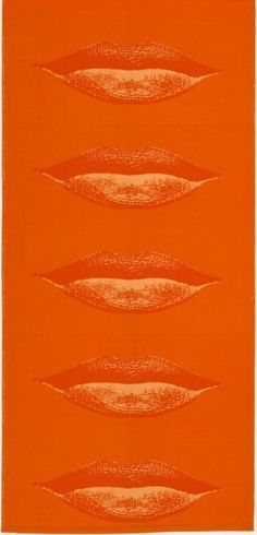"Orange ""Lippen"" textile, designed by Verner Panton, 1968 Mellow Yellow, Orange Yellow, Burnt Orange, Orange Color, Orange Lips, Light Orange, Mint Green, Orange Aesthetic, Aesthetic Colors"