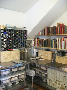 orginized and clutterfree workspaces by studiodsharp This is a good idea for my art room!!!