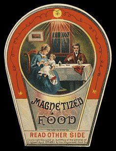 Classic Quackery, Magnetized Food, Read Other Side, The Match Lith CO. New York Pub Vintage, Vintage Tins, Vintage Labels, Vintage Ephemera, Science Fiction, Vintage Medical, Old Ads, Illustrations, The Good Old Days