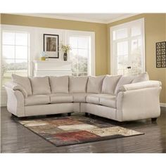 Darcy   Stone Contemporary Sectional Sofa With Sweeping Pillow Arms By  Signature Design By Ashley At