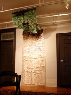 Big Knitting: Landscape Section Idea for drapes with leftover fabric scraps