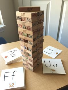 Alphabet Jenga: New twist on an old game. Why? Because preschool should be fun! #homeschool #homeschoolstrong