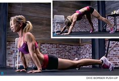 Dive Bomber push ups are an AWESOME—and insanely intense—variation of the push up that pulls from yoga. It hits the core and triceps HARD.